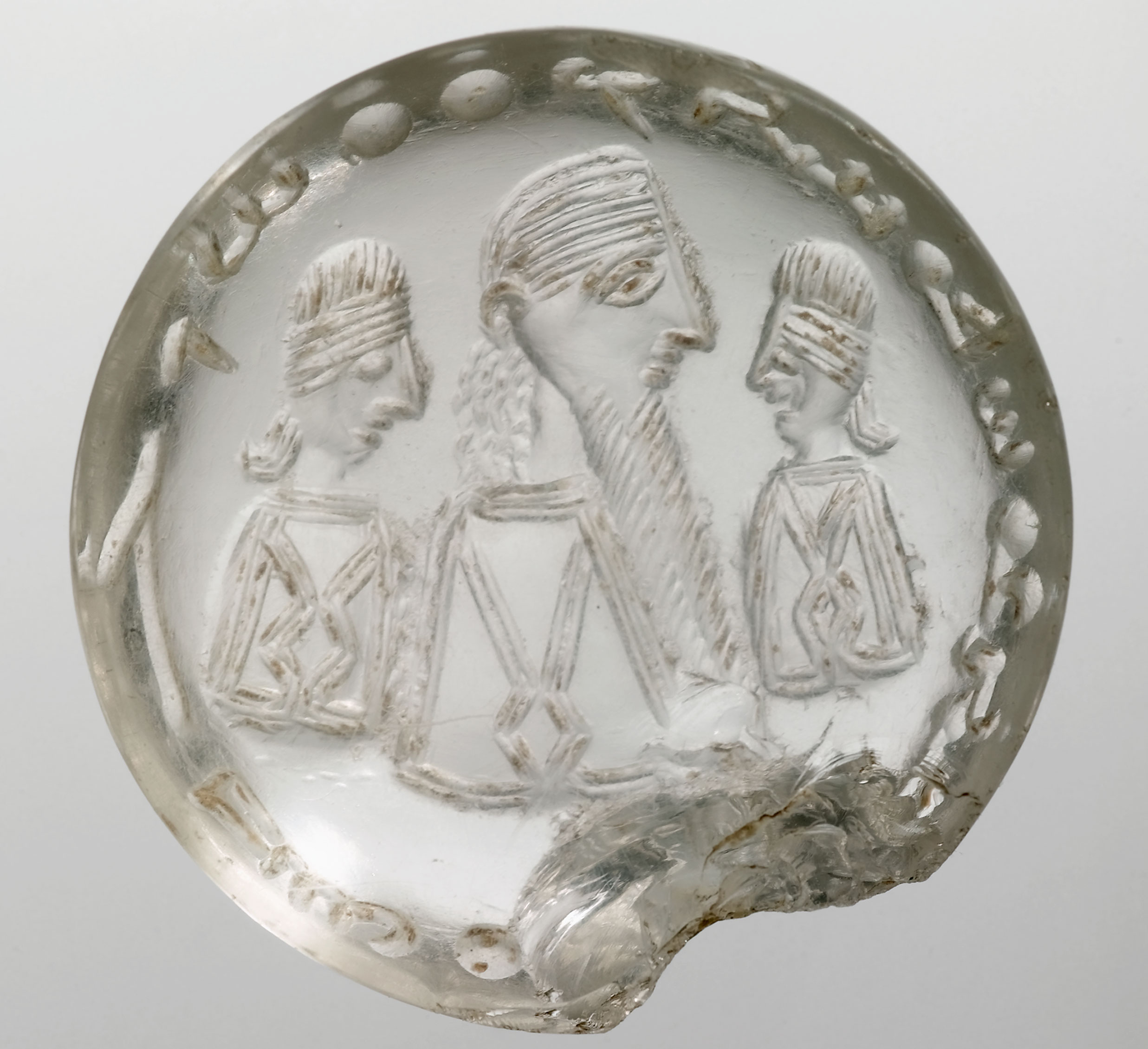 "'The Crystal Seal of Mani' (possibly 3rd cent. CE). The Syriac text reads: ""Mani, the Apostle of Jesus Christ"". Bibliothèque nationale de France."